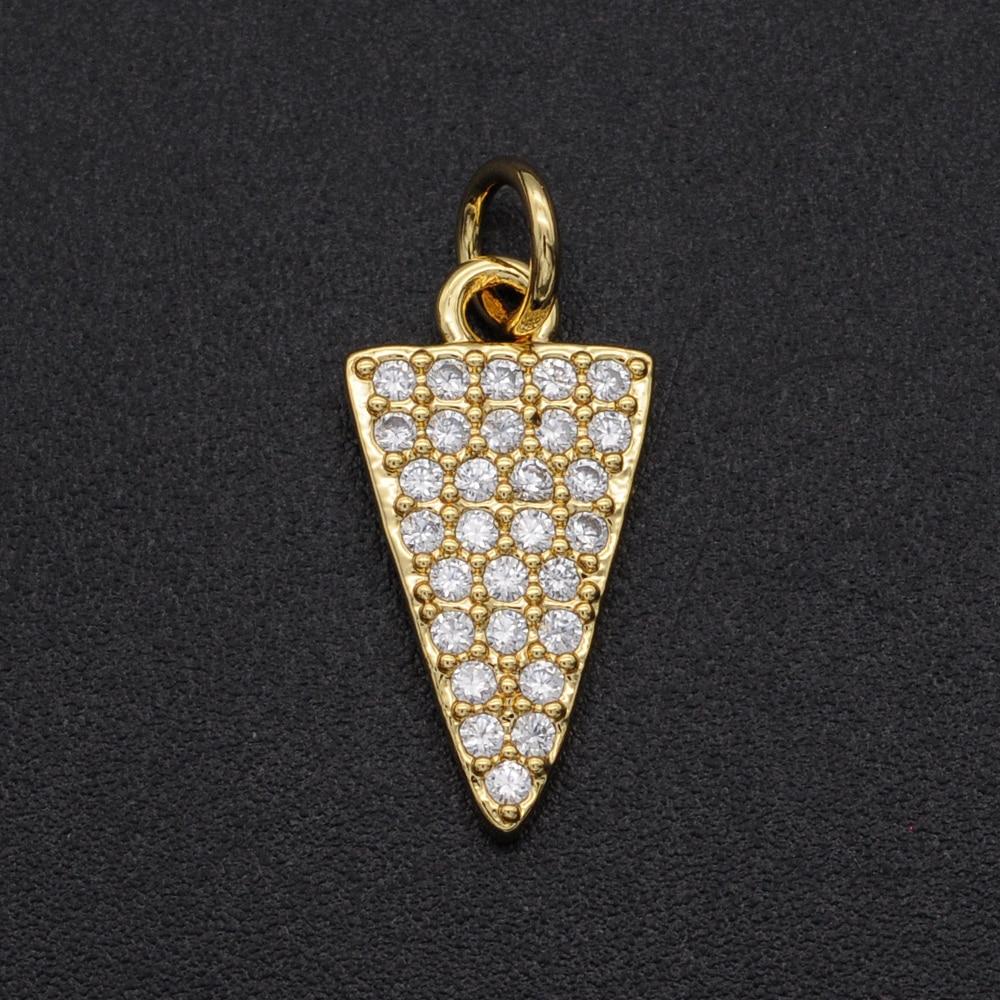 16x9 CZ Zircon DIY Jewelry Geometric Triangle Charm Pendant Wholesale Jewellery Accessories Fashion