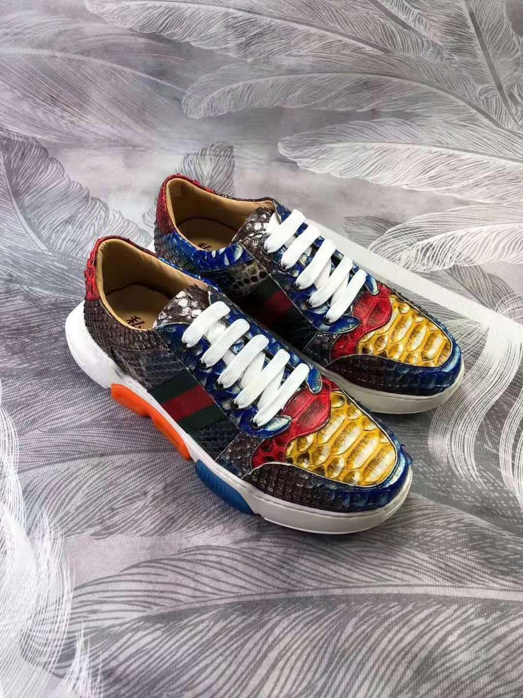 حذاء رياضي رجالي من جلد الثعبان الأصلي ، حذاء مسطح ، عصري ، للترفيه ، راقي ، لون جلد الثعبان ، 2019 ، أحدث تصميم ، 100%