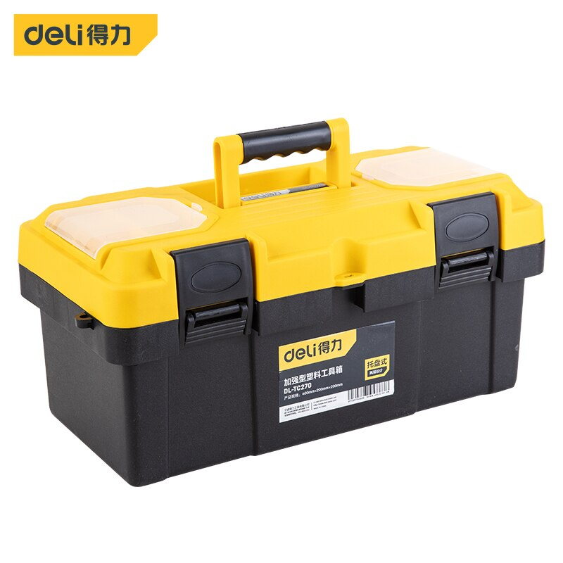 Deli Reinforced Plastic Toolbox Professional Tool Box Workshop tools flight case Storage case organizer complete toolbox