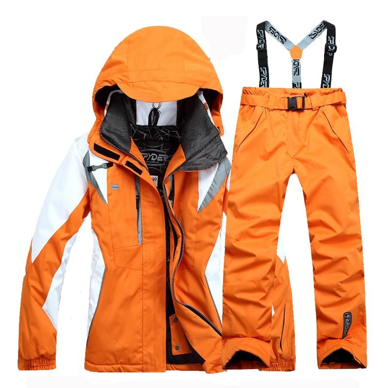 New Women's Ski Suit Ski Jacket + Pant Splicing Female Snowboarding Set Snowboarding Coat And Trousers Women Ski Suit