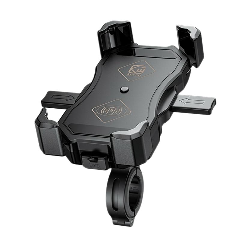 Kewig motocicleta carregador sem fio suporte do telefone de carga rápida montagem telefone celular para samsung iphone huawei telefones moto atv