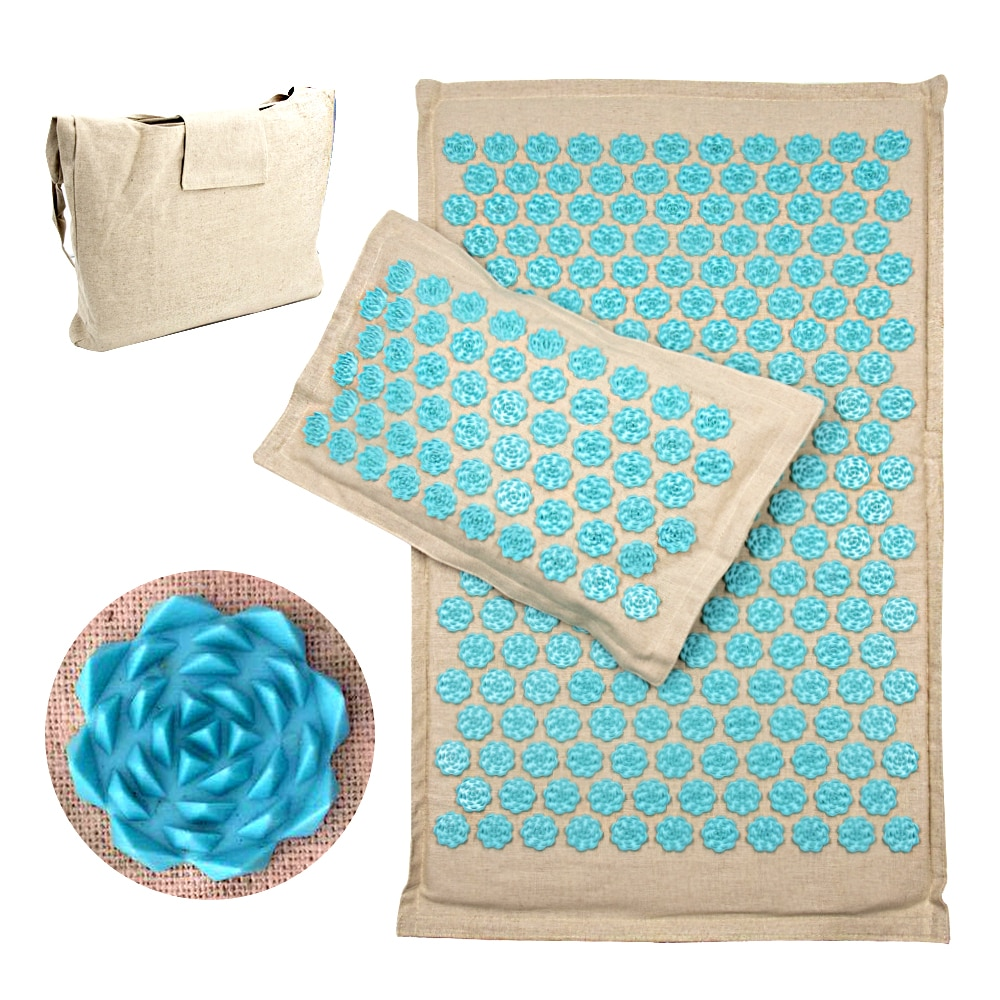 Coconut Fiber Acupressure Mat Set Back Foot Acupuncture Massage Mat with Pillow Relaxation Stress Relief Massage Cushion Shiatsu