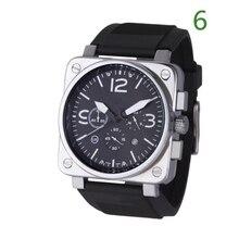 Men's Military Watch Multifunction Dual Calendar Square Dial Women Wrist Watch Rubber Strap Alloy Wa
