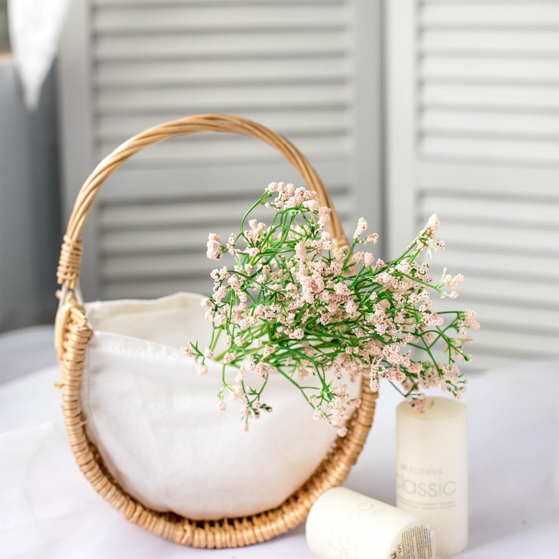 Cesta de flores fuerte robusto césped vid lino tejido a mano media lunas cesta de flores cesta de mimbre hogar boda decoraciones para el hogar