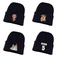 anime kuroko no basket knitted hat cosplay hat unisex print adult casual cotton hat teenagers winter knitted cap