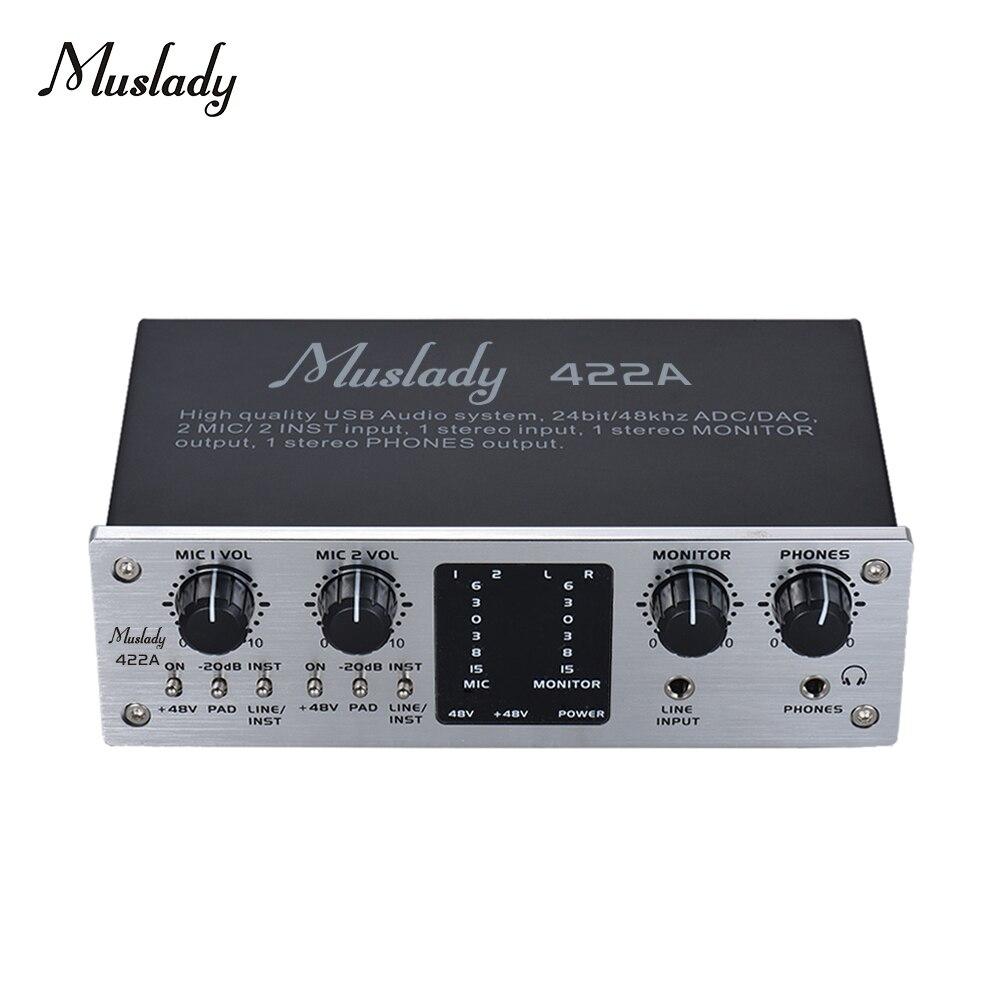 Muslady 422a 4-channel usb interface de sistema de áudio placa de som externa + 48v phantom power dc 5v fonte de alimentação para computador