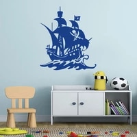 pirate captain ships boat sailing vinyl wall decal wall stickers vinyl murals skull removable wallpaper home decor cx538