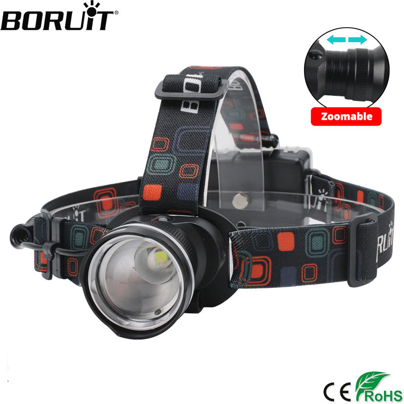 boruit rj 5000 xml t6 r2 headlight 4 mode headlamp power bank head torch hunting camping flashlight 18650 battery light BORUiT RJ-2166 T6 LED Headlamp 1000LM 3-Mode Zoom Headlight Waterproof use AA Battery Head Torch for Camping Hunting