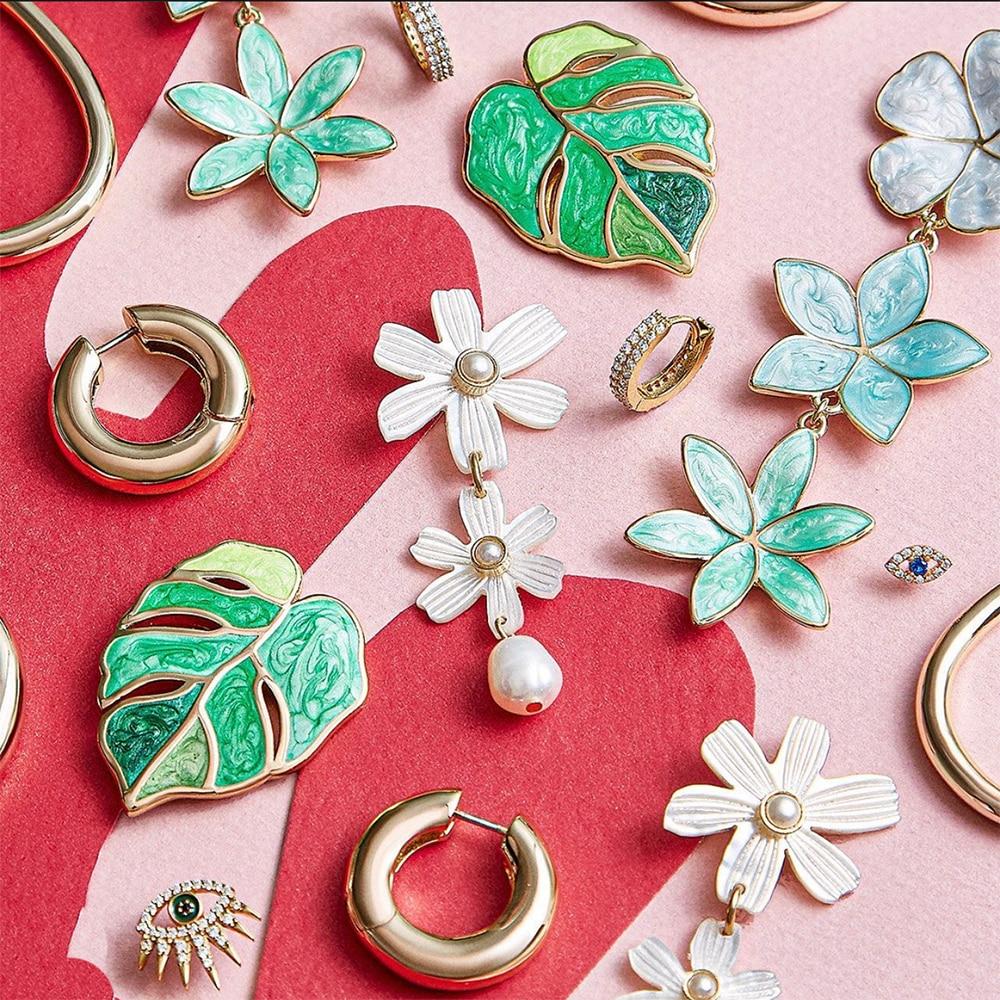 Brincos folhas verdes femininos, joias da coréia, brincos de folhas verdes, boho, declaração de moda feminina, brinco de gota, presentes de 2020