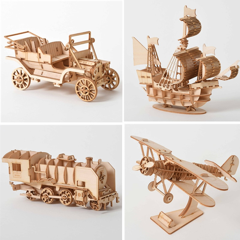 3D Wooden Puzzle Model  DIY Handmade  Mechanical toys for Children  Model  Kit Game Assembly Model ships train airplane