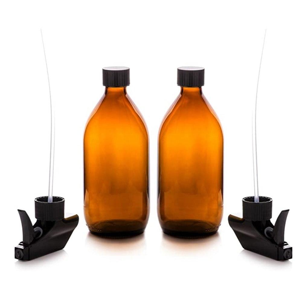 Botella desinfectante para manos, loción de vidrio marrón sombreado de aceite esencial puro Rocío, loción cosmética, sub-botella