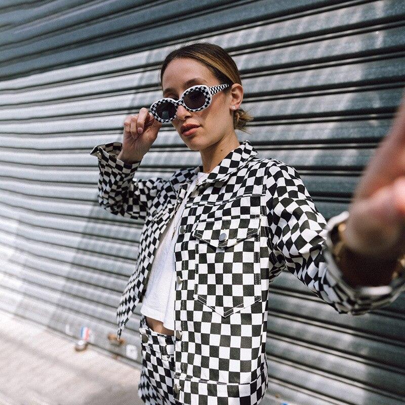 Women Plaid Jackets Autumn Harajuku Checkerboard Cropped Jacket Streetwear Short Coats Tumblr Girl Clothes Checkered Dropship