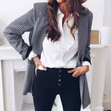 Automne femmes jolie pochette bureau dame veste revers hauts Plaid manteau mince cardigan dextérieur pardessus à manches longues costume manteau hauts