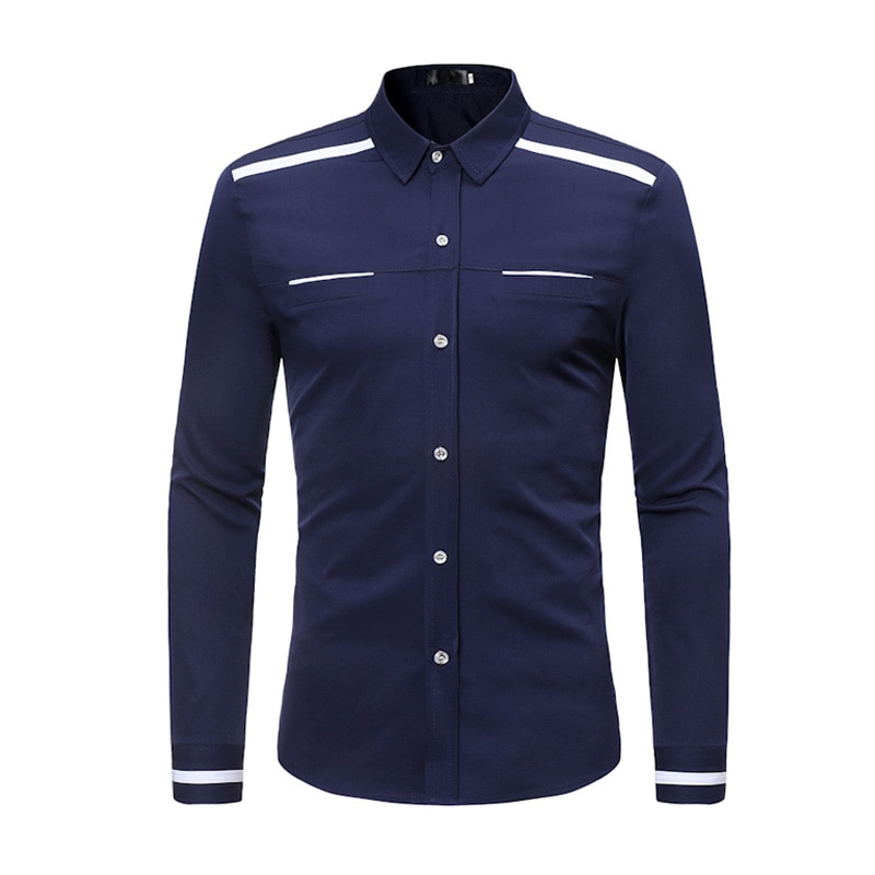 CYXZFTROFL High Quality Men Shirt Brand Fashion Casual Slim Fake Pocket Long Sleeve Shirt Men Business Social White Top Clothes