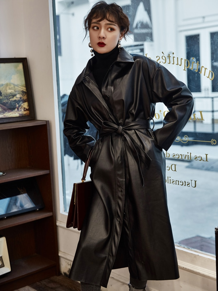 De Sashes Full Limited Couro Feminino Direct Selling Women 2020 Autumn Loose Mid-length Pu Leather Jacket Waist Handsome Long enlarge