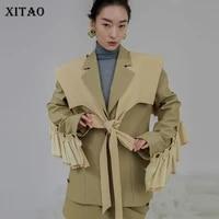 xitao personalized womens blazer detachable ruffle fashion street v neck full sleeve 2021 new single button coat ldd1968