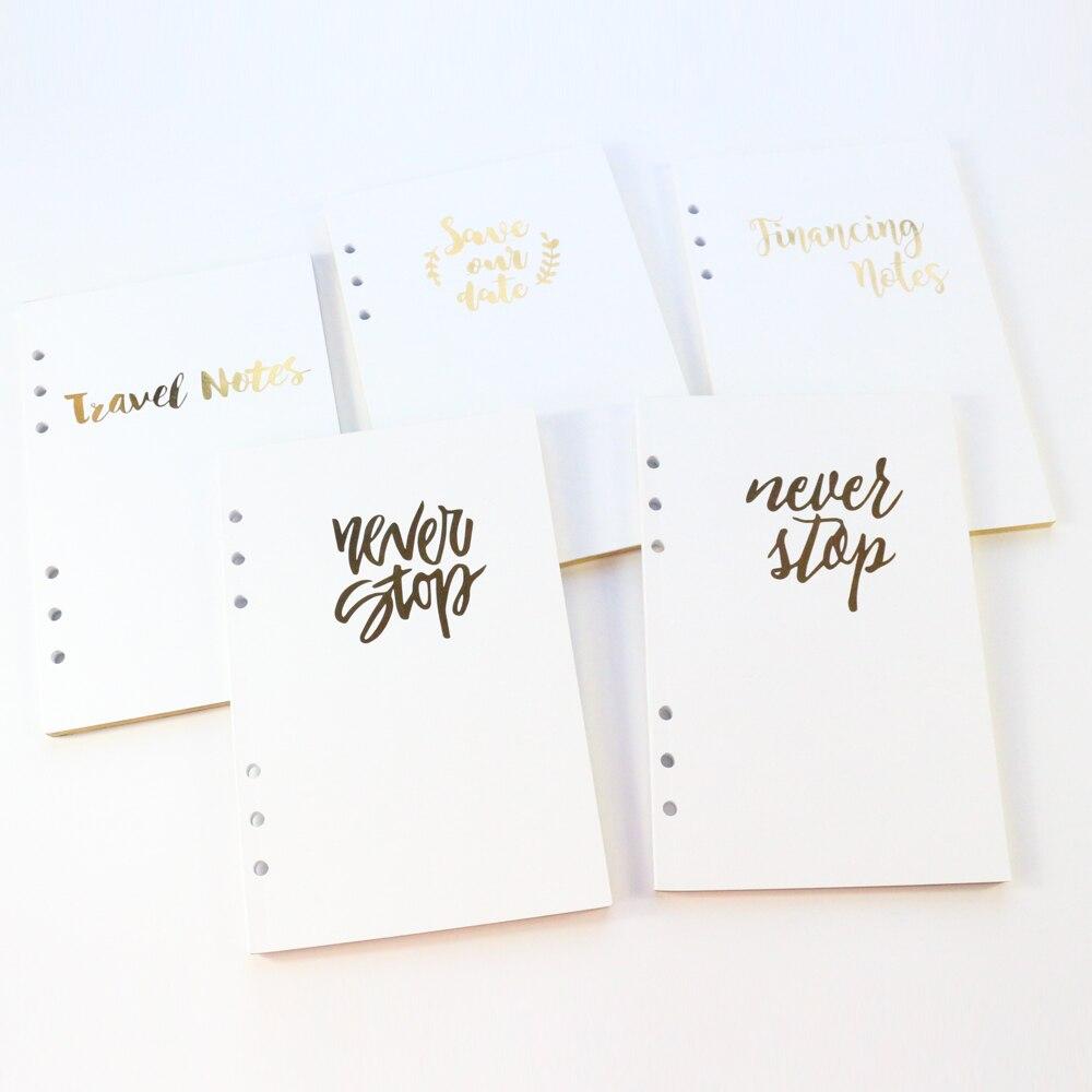 Domikee nette 6 löcher bindemittel spirale notebooks gold folie nachfüllen innere papiere kern briefpapier, konto, täglichen plan, blank, grid, A5A6