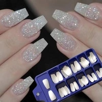 fashion 100pcs full natural color french short false nails fake tips with box fake nails art acrylic manicure beauty tools