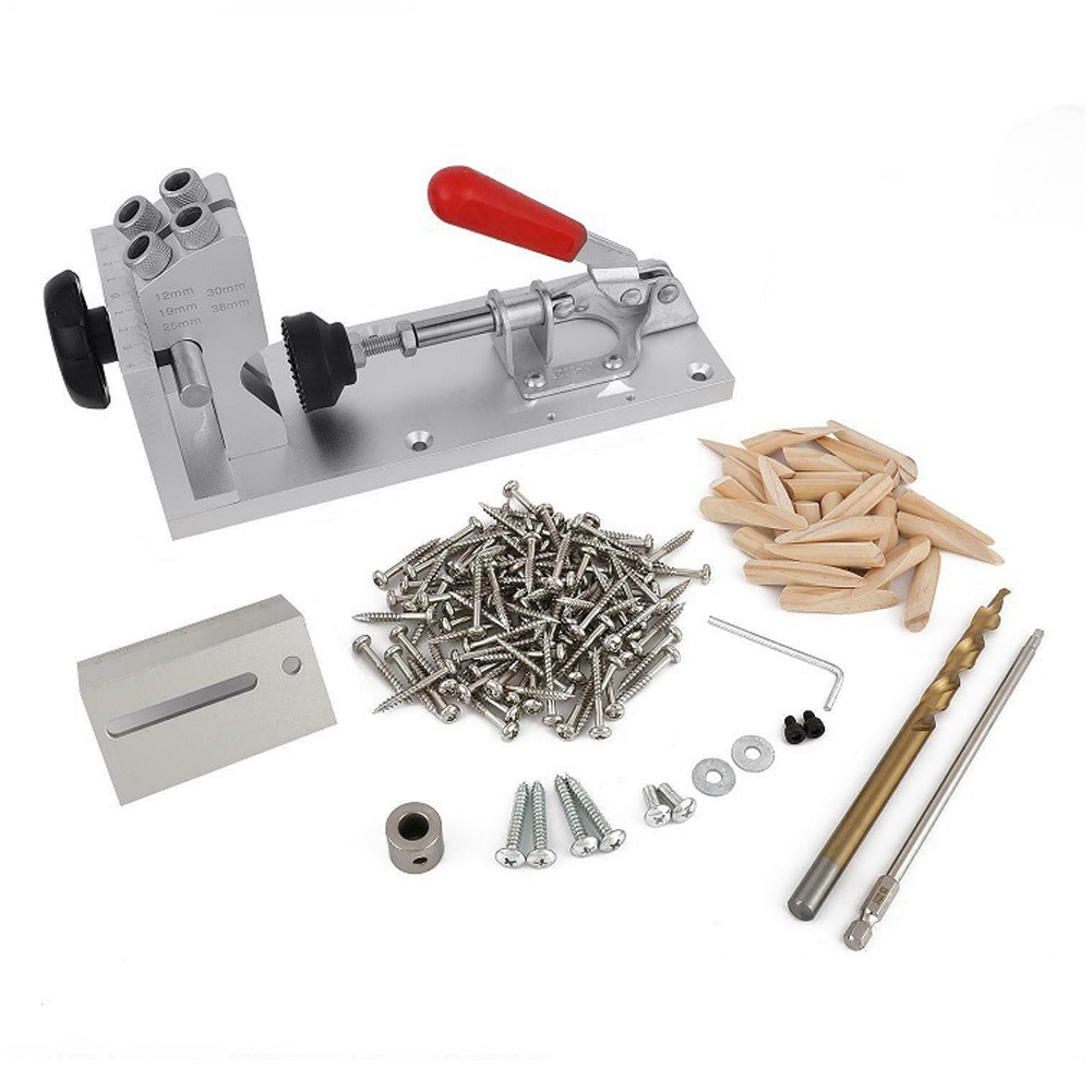 Fast clamping Pocket Hole Jig Kit System With Step Drill Bit Robertson Screws Bit Bezels Carpenter WoodWorking Tools kit