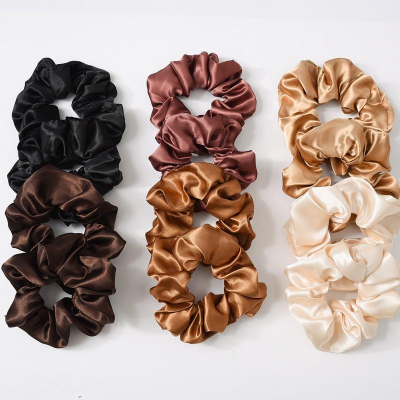 1pc satin sutera warna solid scrunchies tali rambut elastik, aksesori - Aksesori pakaian - Foto 3