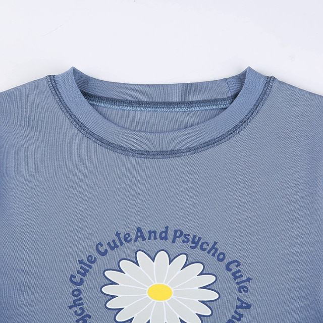 Blue T-Shirts with flower print