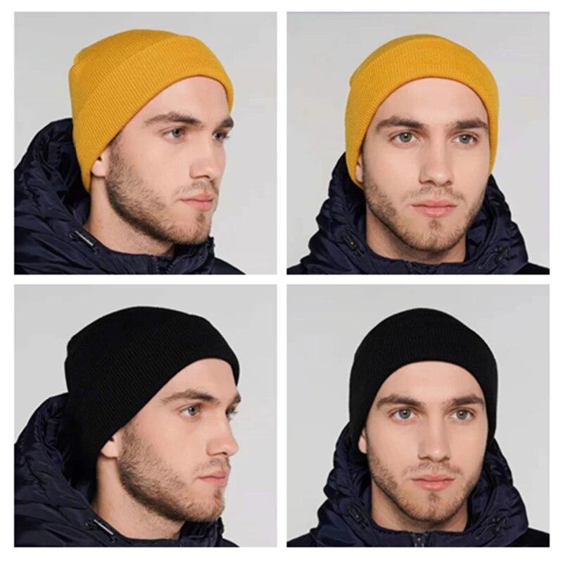 Зимние шапки для женщин однотонные теплые мягкие вязаные шапки для девочек осенние Акриловые шапки в стиле хип-хоп женские шапочки облегаю...