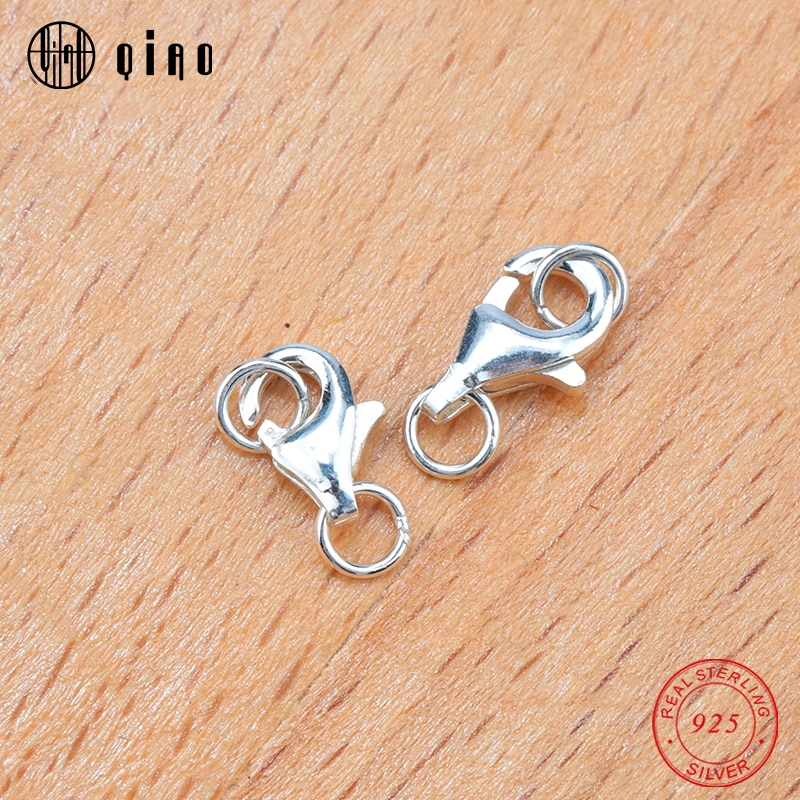 8mm 9mm 925 sterling silver Double Ring Lobster Clasps Jewelry Findings DIY Necklace Bracelet Making Jewelry Accessories 2pcs