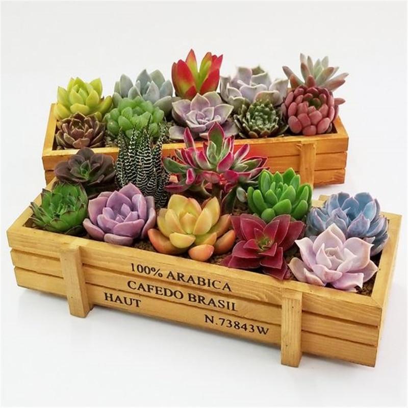 Retro maceta de madera suculenta planta Rectangular de caja de madera antigua...