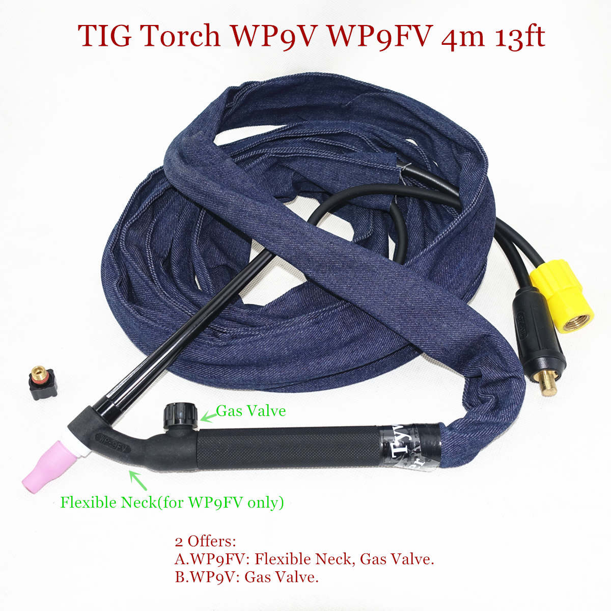 WP9FV TIG Torch 4m 13ft Gas Tungsten Arc Welding Torch WP9 Argon Air Cooled Flexible Neck Gas Valve TIG Welding Torch