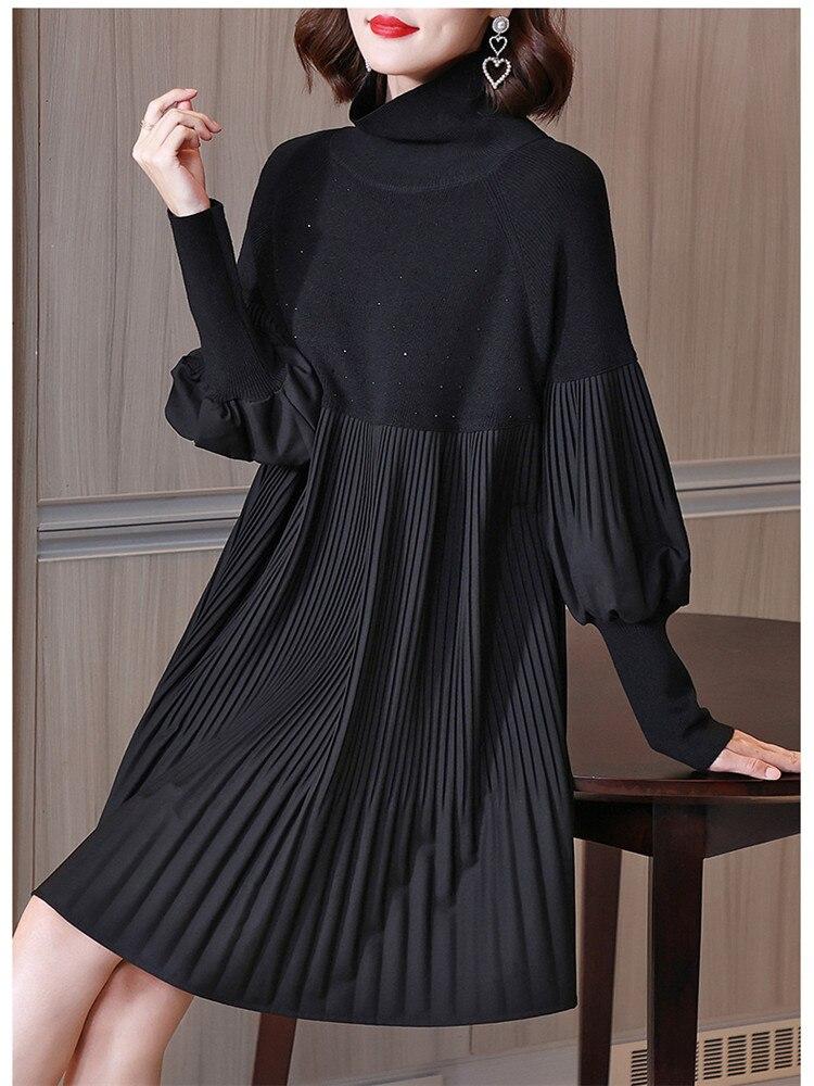Miyake أضعاف الأم الخريف محبوك فستان بكم طويل صغير موضة عالية الرقبة فضفاضة الدهون ملليمتر رقيقة كبيرة الحجم المرأة فستان