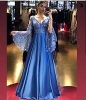 blue evening 2021 long flare sleeve a line satin appliques sequins v neck backless brilliant princess prom gown %d9%81%d8%b3%d8%a7%d8%aa%d9%8a%d9%86 %d8%a7%d9%84%d8%b3%d9%87%d8%b1%d8%a9