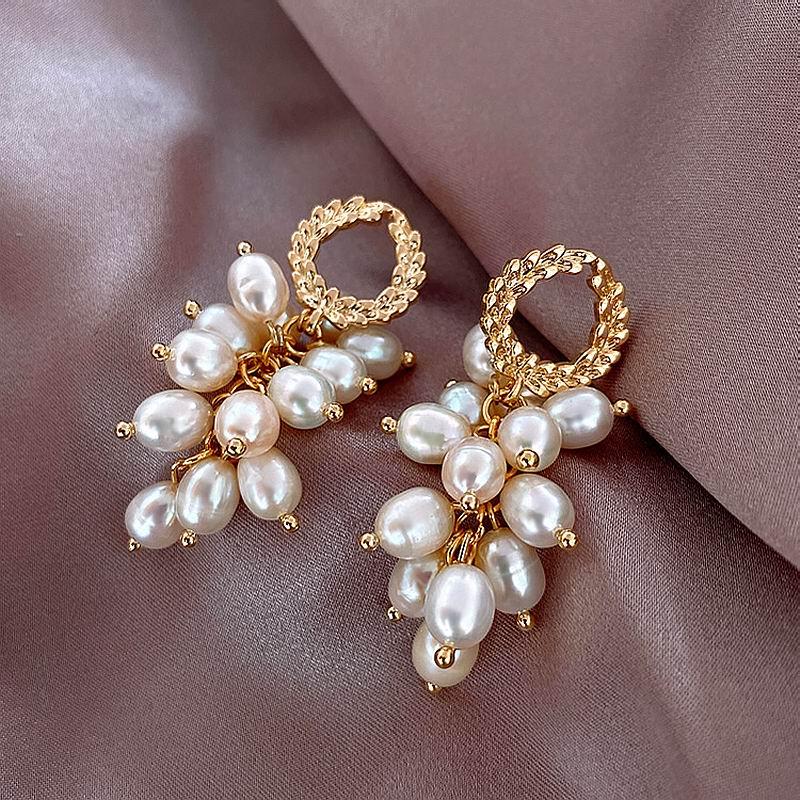 Multi camadas fios pérola brincos de gota para mulher 2020 nova jóias branco elegante instrução earings