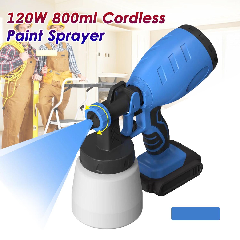 Electric Spray Gun 800ml Household Cordless Paint Sprayer 3 Nozzle Sizes HVLP Airbrush Easy Spraying Cordless Lithium Spray Gun