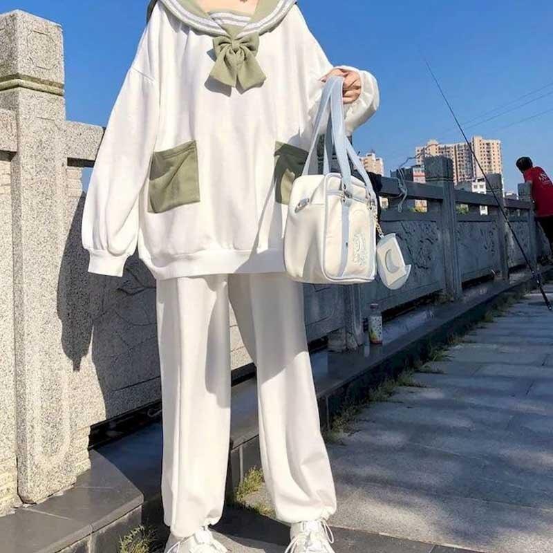 بدلة للخريف بنمط كوري فضفاضة آذان أرنب لطيفة ياقة البحرية + سروال من قطعتين بدلة من قطعتين للطالبات سويي