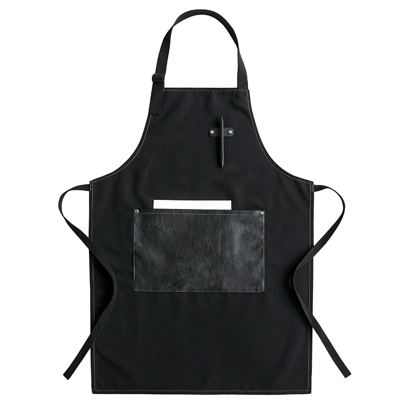 Simple Fashion Apron With Pocket Waterproof And Breathable Barista Baking Cold Drink Shop Kitchen Work Clothes For Men And Women enlarge