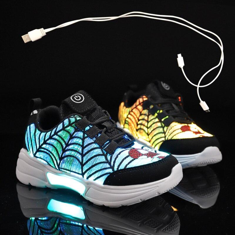 Tamanho 27-38 novo verão outono led sapatos de fibra óptica para meninas meninos das mulheres dos homens usb recarga brilhante tênis homem iluminar acima sapatos