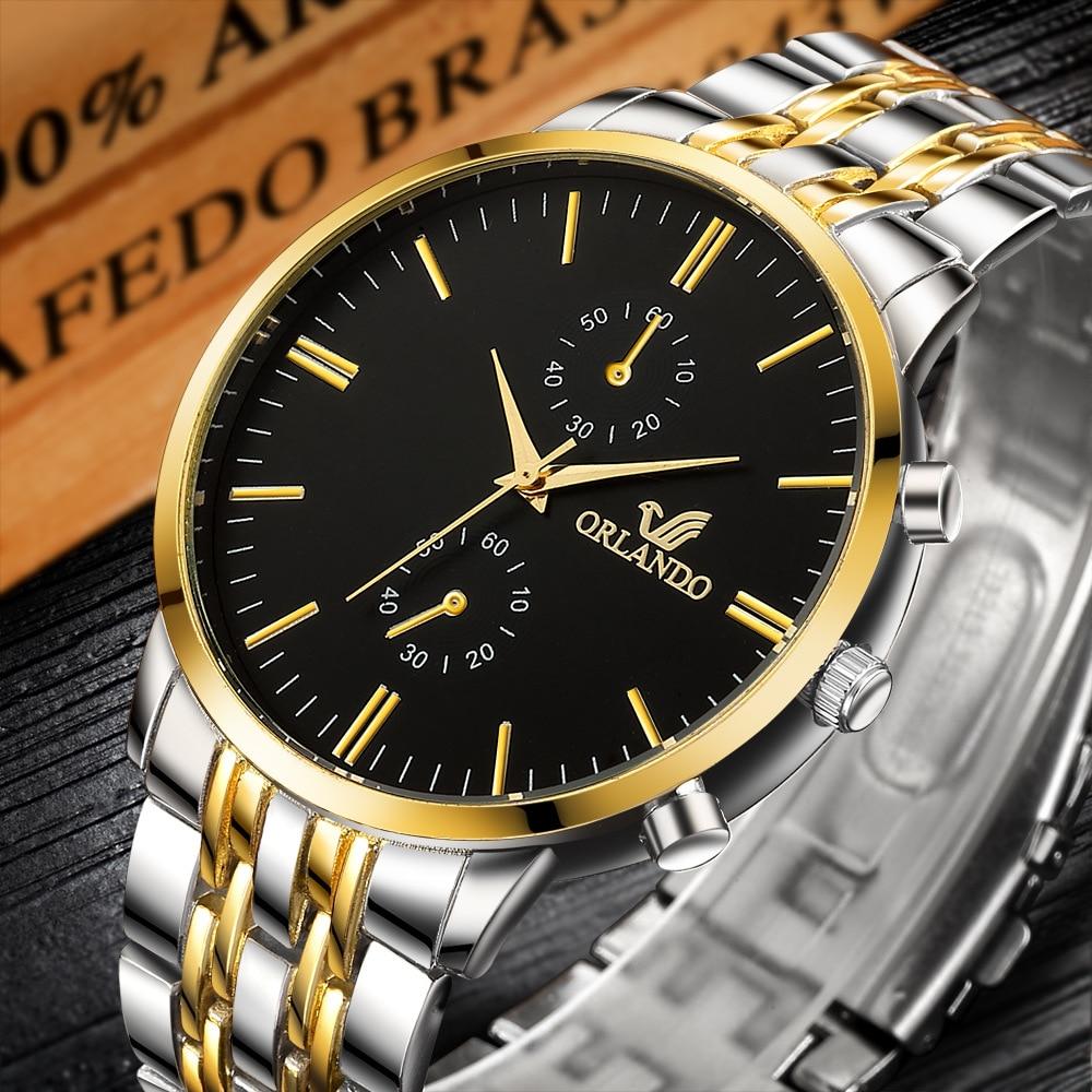 Часы наручные мужские кварцевые, люксовые брендовые Орландо, деловые повседневные модные, 2020