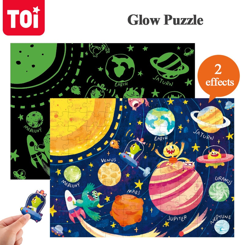 TOI 96PCS Children Puzzle Montessori Cognitive Jigsaw Luminous Educational Toy Cartoon Scene Game Over 3 Years Old Kids Gift