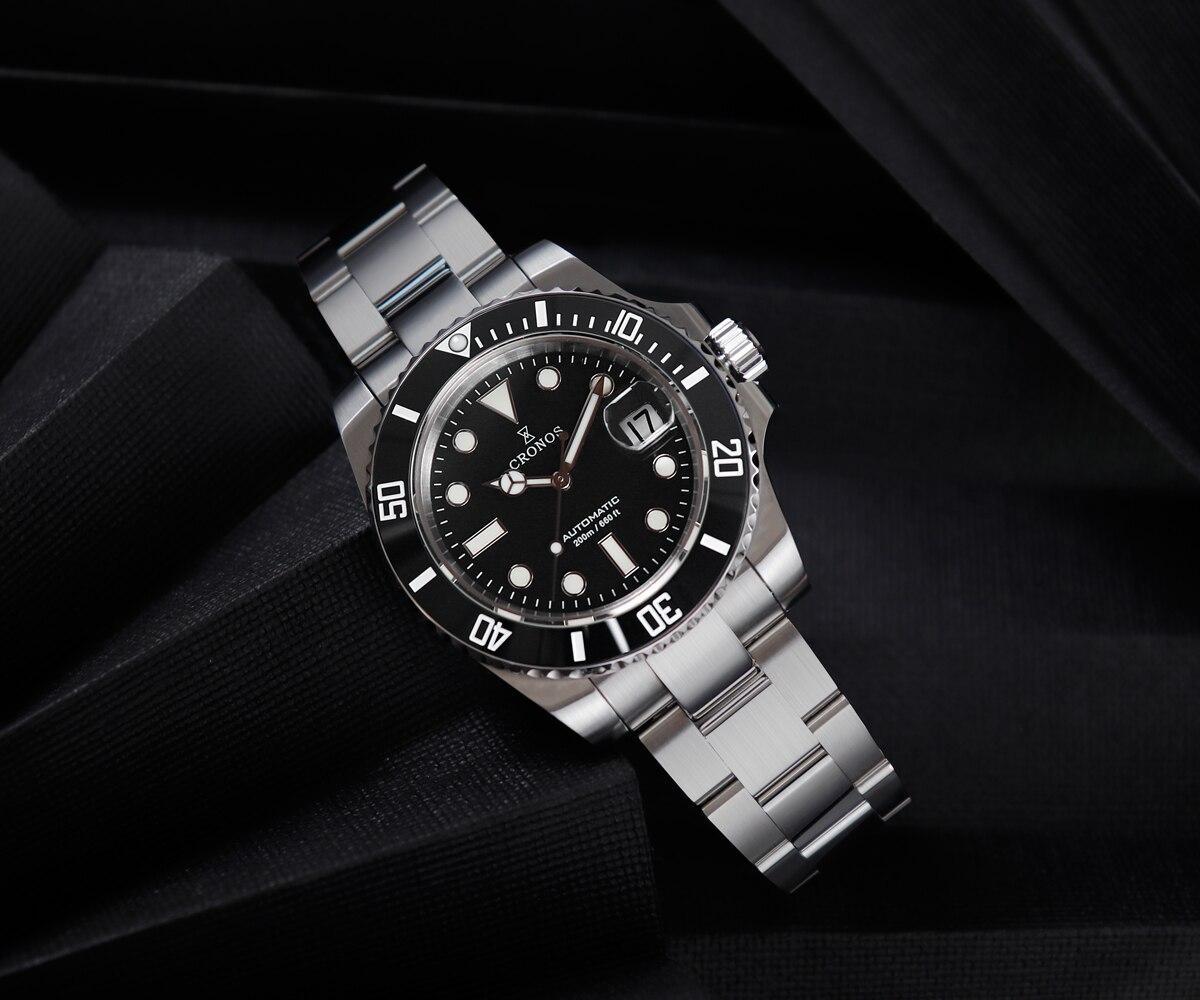 CRONOS Mechanische Uhr Männer SW200 Automatische Taucher Uhr 200m Keramik Lünette C3 Super Luminous Stahl Mode Sport Dive Armbanduhr