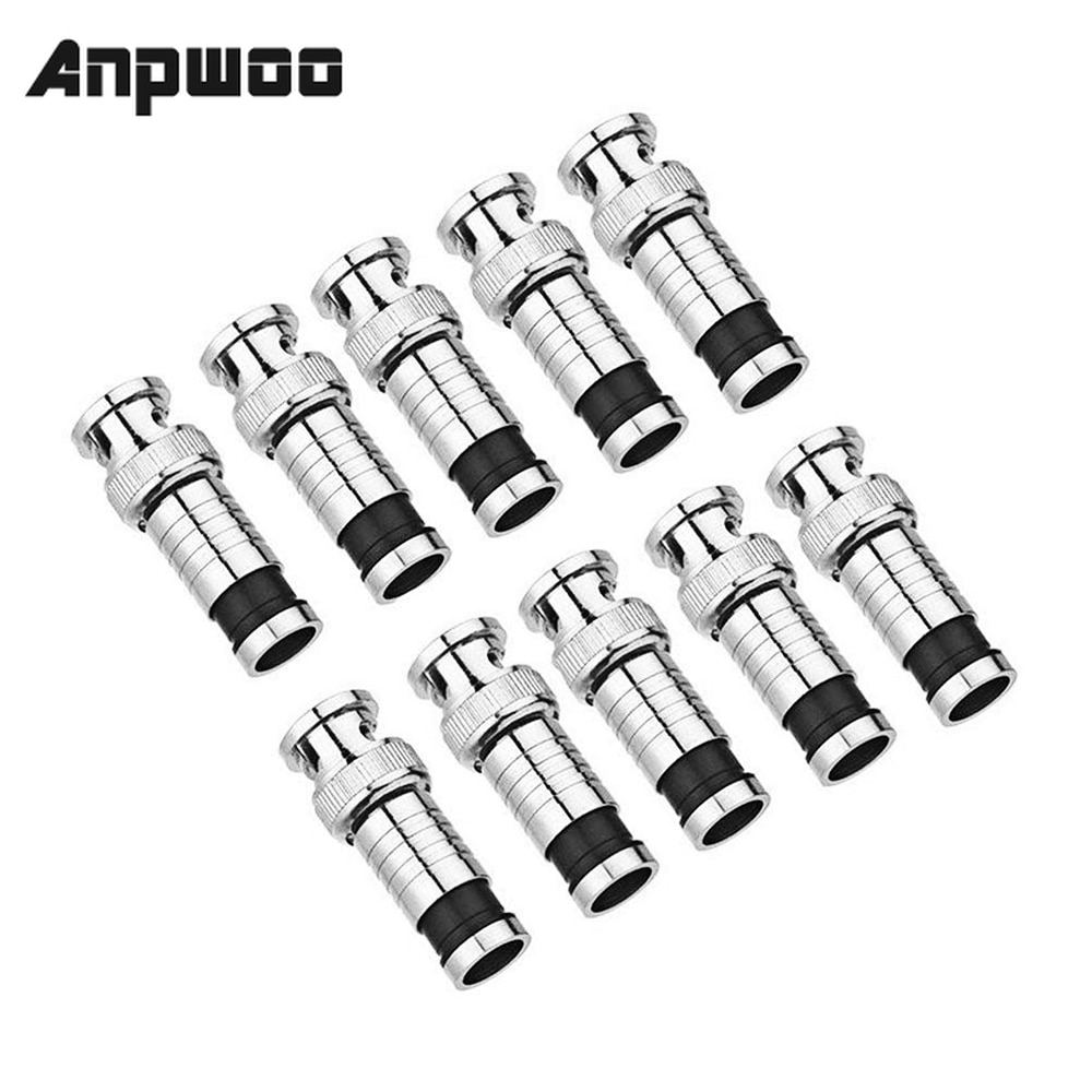 ANPWOO 10PCS/lot security system BNC Connector Compression Connector Jack for Coaxial RG59 Cable CCT