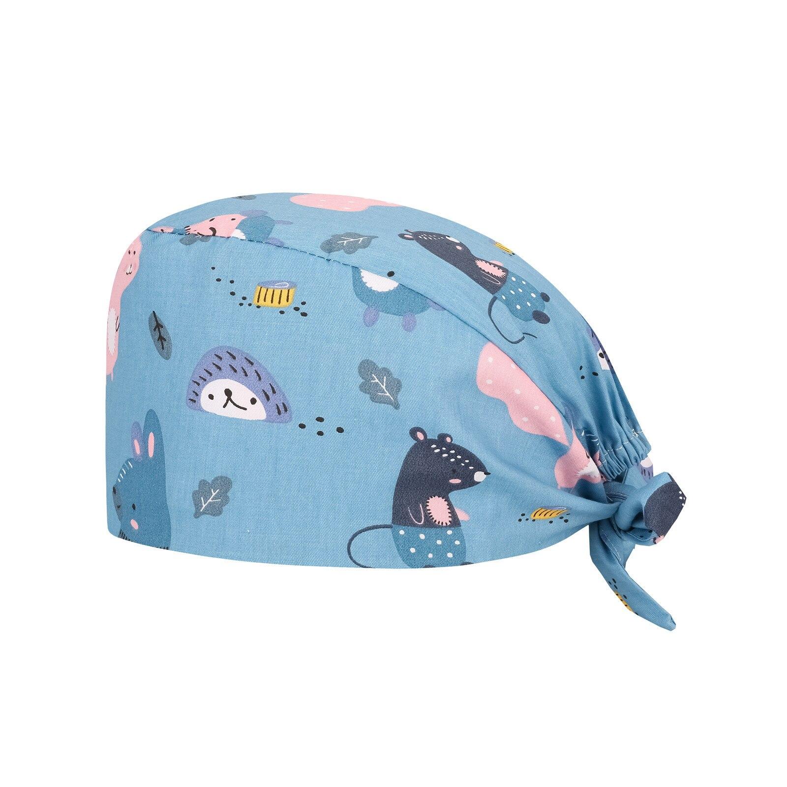 Health Service Scrubs Women Hat Adjustable Elastic Button Cartoon Print Cap Pet Beauty Work Hats wit