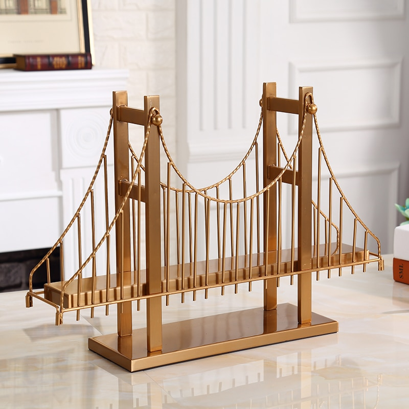 Moderno 56cm edificio Golden Gate puente estatua decorativa hogar Metal artesanía habitación Hotel objetos decorativos Oficina Metal estatuillas