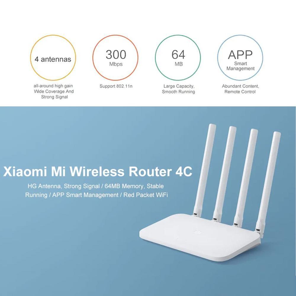 Xiaomi роутер 4C высокоскоростной Wi-Fi 802,11 b/g/n 2,4G 300 Мбит/с 4 антенны Смарт приложение управление полоса беспроводные роутеры ретранслятор