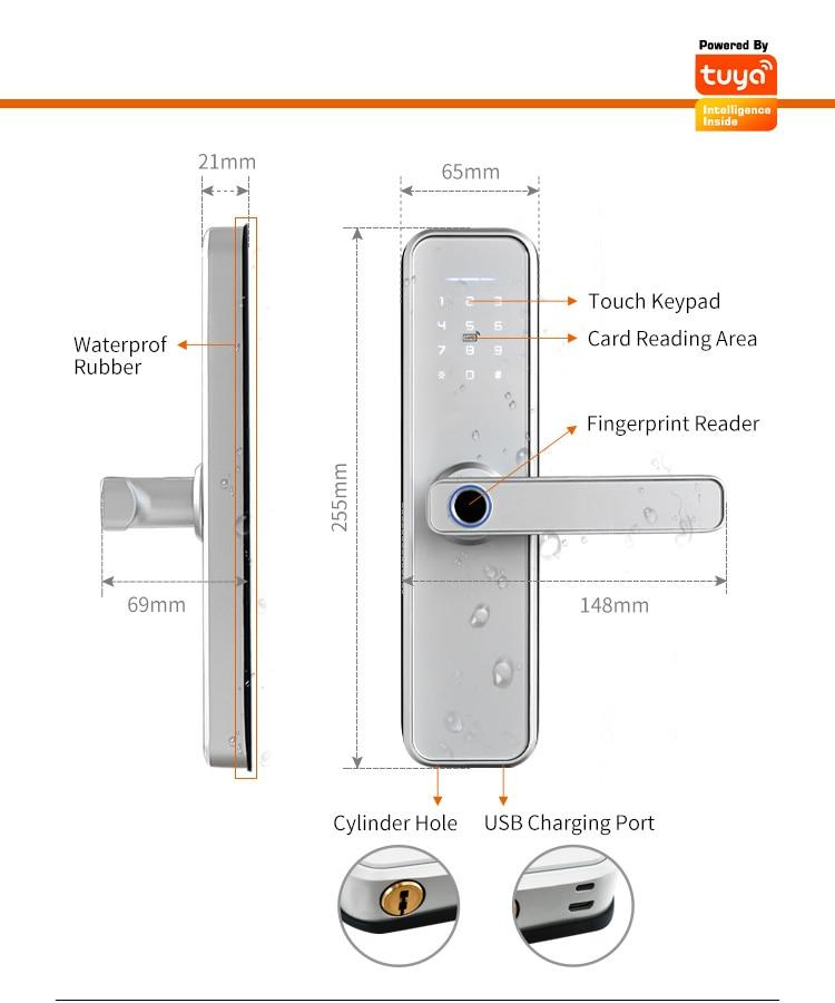 cerradura intelige X5 Waterproof Tuya Biometric Fingerprint Security Intelligent Smart WiFi APP Password Electronic Door Lock