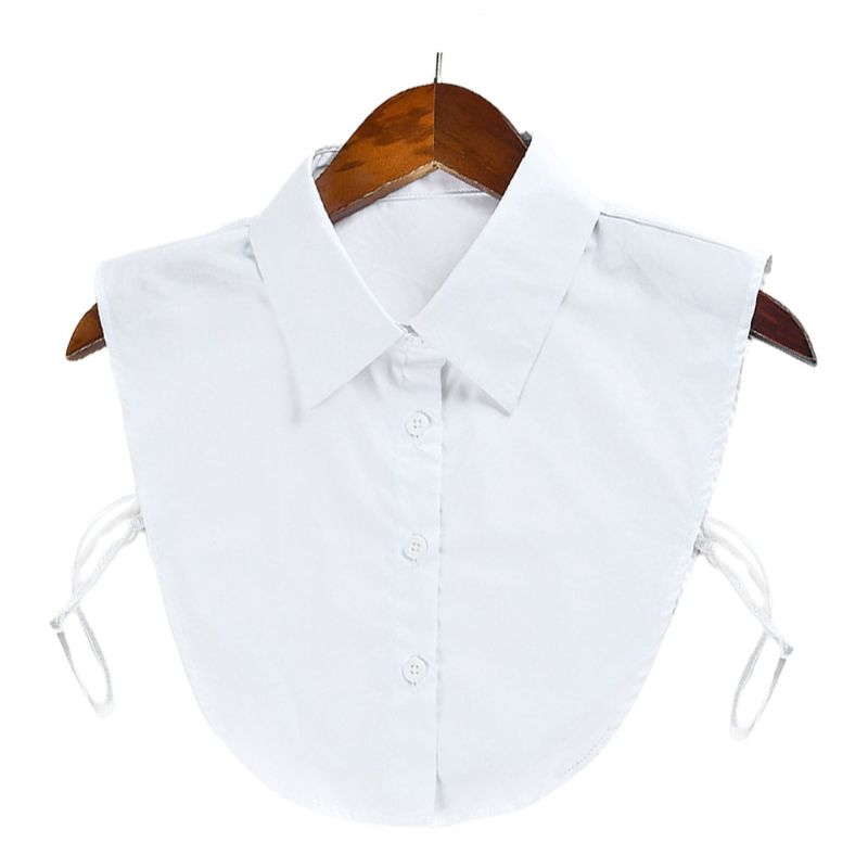 Cotton Fake Collar Clothes Accessories Women Adjustable Solid Color Detachable Half-Shirt Blouse Top