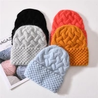 women hat angora winter beanie warm with brim autumn skiing accessory for teen sports outdoors