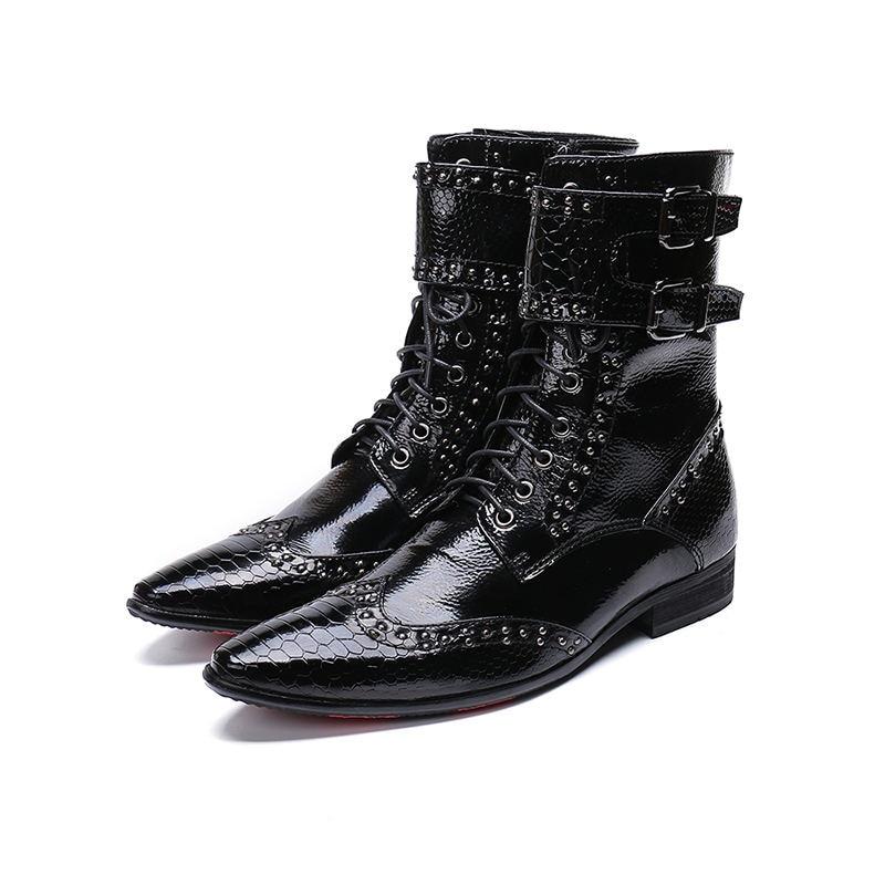 Botas militares-أحذية جلدية أصلية للرجال ، أحذية رعاة البقر المرصعة تشيلسي ، أحذية أمان للعمل الشتوي ، أسود لامع