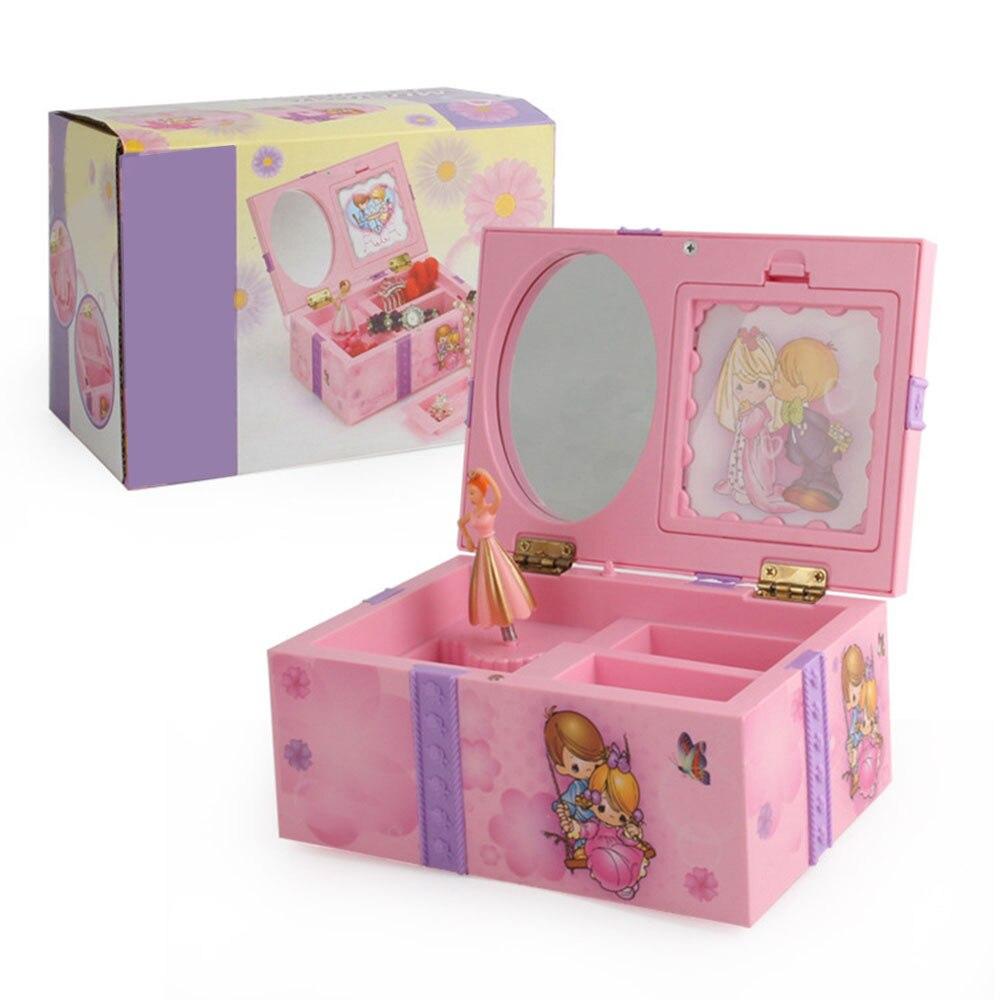 Boîte à musique rose cadeaux créatifs pour enfants horloge jouet Musical boite à bijoux organisateur de rangement cadeau créatif pour les filles