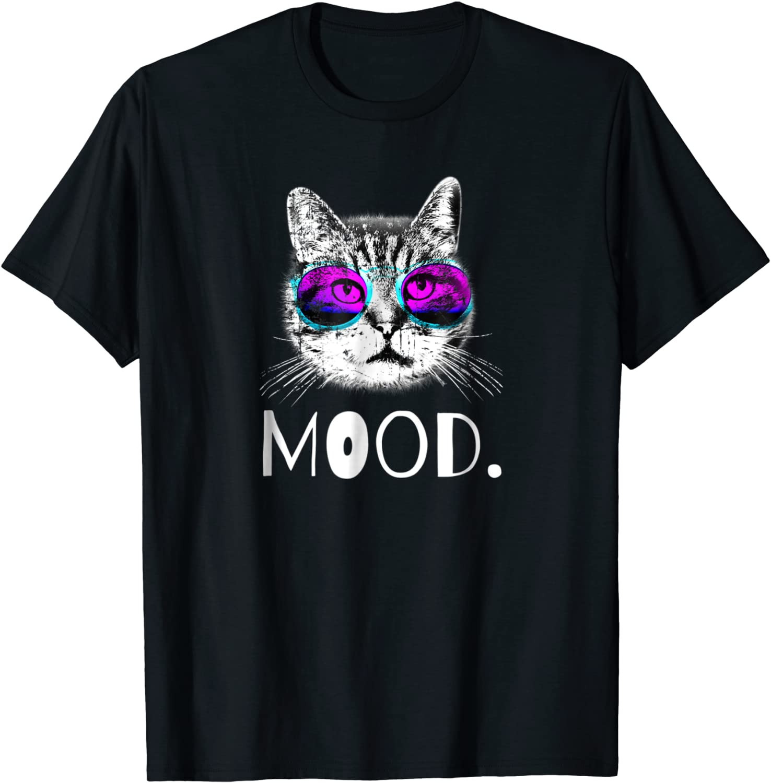 Fierce Bold Cat Wearing Sunglasses Mood Statement T Shirt