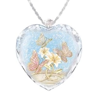 womens heart shaped butterfly flower crystal pendant necklace crystal necklace women charm jewelry gift
